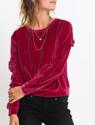 baratos -Mulheres Camiseta - Diário / Para Noite Moda de Rua Frufru, Sólido / Primavera / Outono