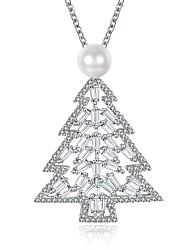 baratos -Mulheres Forma Geométrica Árvore da Vida Forma Personalizada Fashion Colares com Pendentes Colares em Corrente Zircônia Cubica Zircão