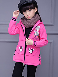 cheap -Girls' Cartoon Trench Coat Winter Fall Long Sleeve Red Gray Fuchsia