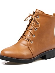 cheap -Women's Shoes PU Fall Winter Comfort Boots Low Heel Round Toe Lace-up For Outdoor Office & Career Brown Beige Black