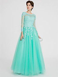 Princess Jewel Neck Floor Length Lace Tulle Prom Formal Evening Dress with Beading Lace by QZ