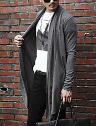 cheap -Men's Long Sleeve Long Cardigan - Solid Colored / ONE-SIZE fits S to M, please refer to the Size Chart below.
