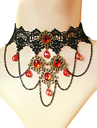 cheap -Sweet Lolita Dress Necklace Vintage Inspired Red Lolita Accessories Solid Necklace Polyester Metal