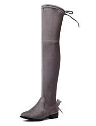 Недорогие -Для женщин Обувь Спандекс Флис Осень Зима Модная обувь Ботинки Блочная пятка Круглый носок Сапоги выше колена Бант Шнуровка Назначение
