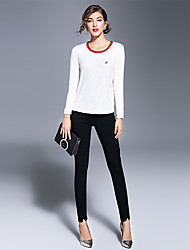 Dámské Jednobarevné Jdeme ven Běžné/Denní Sofistikované Tričko-Zima Polyester Nylon Spandex Kulatý Dlouhý rukáv Tlusté