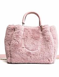 Недорогие -жен. Мешки Зима Осень Мех Сумка-шоппер Молнии для Белый Розовый Хаки