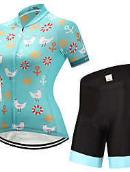 cheap -FUALRNY® Women's Short Sleeves Cycling Jersey with Shorts - Green Bike Clothing Suits, Quick Dry