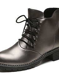 cheap -Women's Shoes PU Fall Comfort Fashion Boots Boots Block Heel Round Toe Mid-Calf Boots Lace-up For Casual Gray Black