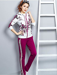 cheap -Women's Daily Casual Spring Fall Hoodie Pant Suits,Striped Floral Hooded Long Sleeve Stretch Yarn