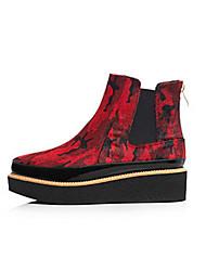 Damen Schuhe Feder / Pelz Herbst Winter Springerstiefel Stiefel Blockabsatz Für Normal Rot Leopard