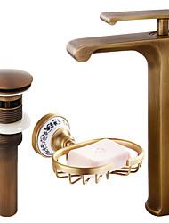 cheap -Centerset Waterfall Ceramic Valve Single Handle One Hole Antique Copper, Faucet Set