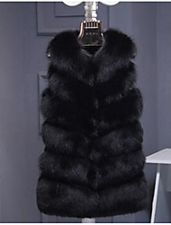 cheap -Women's Daily Simple Casual Winter Fall Fur Coat,Solid Round Neck Long Fox Fur
