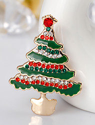 Women's Brooches Cute Style Chrismas Rhinestone Alloy Geometric Jewelry For Gift Christmas