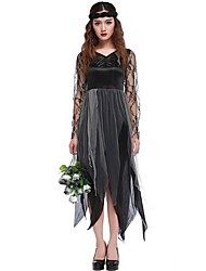 Zombie Vampire One Piece Dress Masquerade Female Christmas Halloween Carnival Festival / Holiday Halloween Costumes Black Solid Color Leaf