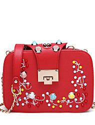 cheap -Women Bags PU Crossbody Bag Beading Embroidery for Event/Party Casual All Seasons White Black Red
