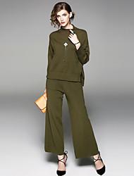 economico -Camicia Pantalone Completi abbigliamento Da donna Per uscire Casual Moda città Autunno,Tinta unita Colletto alla coreana Spacco Manica