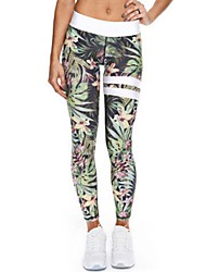cheap -Women's Polyester Spandex Medium Print Legging,Floral Green