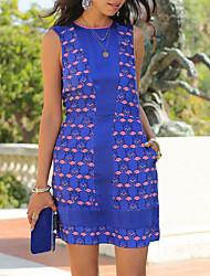 cheap -Women's Lace Dress - Color Block, Cut Out Print