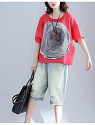 cheap -Women's Daily Casual T-shirt,Print Round Neck Short Sleeves Linen