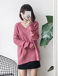 preiswerte -Damen Standard Pullover-Ausgehen Solide V-Ausschnitt Langarm Andere Frühling Winter Mittel Mikro-elastisch