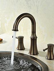 levne -Široká baterie Keramický ventil Se třemi otvory Olejem leštěný bronz, Koupelna Umyvadlová baterie