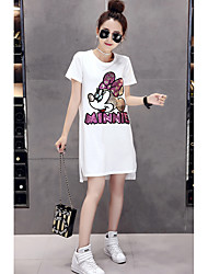 cheap -Women's Daily Casual T-shirt,Print Round Neck Short Sleeves Cotton