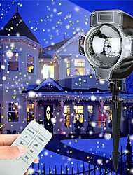 Christmas Led Snowfall Projector Light Tofu Rotating Waterproof White Snowflake Fairy Landscape Projection Lights with Wireless Remote for Outdoor