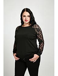 T-shirt Da donna Casual Taglie forti Sensuale Semplice Per tutte le stagioni Autunno,Tinta unita Rotonda Cotone Poliestere Manica lunga