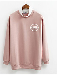 cheap -Women's Going out Sweatshirt Letter Round Neck Micro-elastic Polyester Long Sleeve Fall