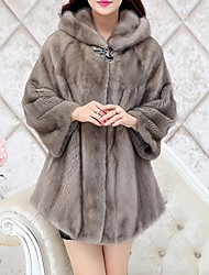 Women's Going out Simple Casual Winter Fall Fur Coat,Solid Hooded ¾ Sleeve Regular Polyester Fur Trim