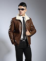 Men's Plus Size Simple Winter Jacket,Solid Stand Long Sleeve Short Lambskin