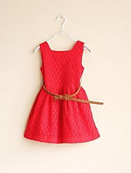 cheap -Girl's Birthday Daily Solid Dress,Cotton Polyester Summer Sleeveless Lace White Red Purple