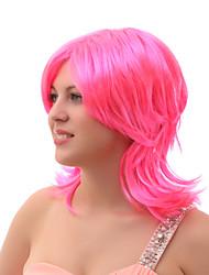 capless courte ligne droite multicouches perruque rose fête costumée