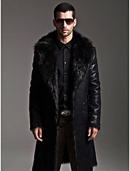 cheap -Men's Daily Simple Casual Winter Fall Long Fur Coat,Solid Shirt Collar Faux Fur Faux Leather