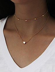 cheap -Women's Heart Jewelry Set - Personalized Euramerican Multi-ways Wear Fashion Simple Style Heart Gold Silver Choker Necklace Pendant