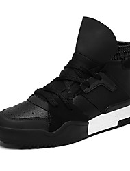 cheap -Men's Shoes Leatherette Fall Winter Comfort Light Soles Sneakers Lace-up For Athletic Casual Black White