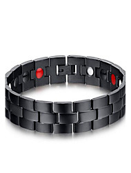 cheap -Men's Stainless Steel Chain Bracelet - Personalized Magnetic Therapy Circle Black Bracelet For Christmas Gifts Daily Casual