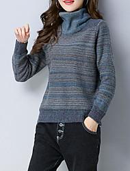 preiswerte -Damen Standard Pullover-Lässig/Alltäglich Solide Rollkragen Langarm Polyester Herbst Mittel Mikro-elastisch