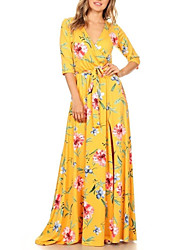 Women's Holiday Plus Size Vintage Boho Sheath Dress,Floral Deep V Maxi Half Sleeves Polyester Spring Fall High Rise Micro-elastic Medium