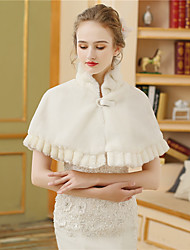 cheap -Faux Fur Wedding Party / Evening Women's Wrap With Buttons Ruched Fur Capelets