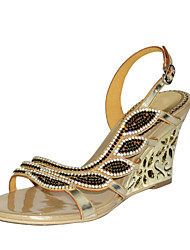 cheap -Women's Shoes Polyurethane Spring Summer Fashion Boots Sandals Wedge Heel Open Toe Rhinestone Crystal Sparkling Glitter Buckle Chain For