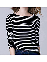 cheap -Women's Daily Going out Casual Summer T-shirt,Striped Round Neck 3/4 Length Sleeves Cotton Spandex Medium