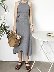 abordables -Mujer Simple Noche Verano Tank Top Falda Trajes,Escote Redondo Estampado Sin Mangas Microelástico