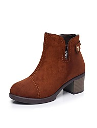 cheap -Women's Shoes Flocking Winter Fur Lining Boots Chunky Heel Round Toe Booties/Ankle Boots Zipper Button for Casual Office & Career Black