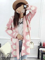 Women's Going out Regular Cardigan,Polka Dot Color Block Hooded Long Sleeves Others Winter Spring Medium Micro-elastic
