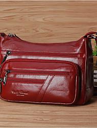 cheap -Women's Bags Cowhide Crossbody Bag Zipper for Casual All Seasons Black Coffee Dark Red