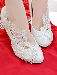 cheap -Women's Shoes Lace Leatherette Spring Fall Comfort Wedding Shoes Round Toe Rhinestone Imitation Pearl Appliques for Wedding Party &