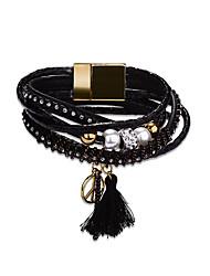 preiswerte -Herrn Wickelarmbänder Lederarmbänder Kubikzirkonia Imitierte Perlen Einfach Retro Grundlegend Rock Hiphop Elegant Schmuck mit Aussage