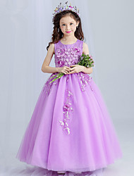 Princess Floor Length Flower Girl Dress - Satin Tulle Sleeveless Jewel Neck with Appliques by Bflower