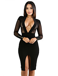 cheap -Women's Club Sexy Bodycon Dress,Solid V Neck Knee-length Long Sleeves Polyester Spandex Fall High Rise Stretchy Medium